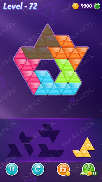 Block! Triangle Puzzle 5 Mania Level 72 Solution, Cheats, Walkthrough for Android, iPhone, iPad and iPod