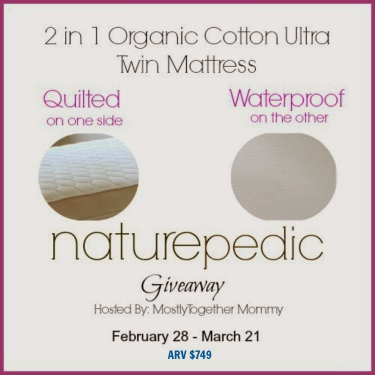 Enter to win a twin mattress in the Naturepedic Mattress Giveaway. Ends 3/21.