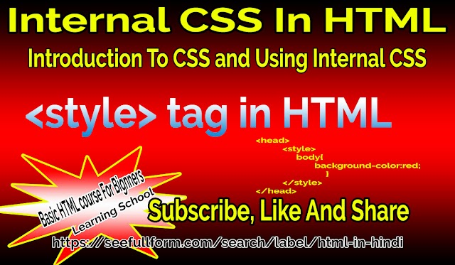 Internal CSS In HTML | CSS Full Form | Introduction To CSS | Style Tag In HTML | Lesson-25