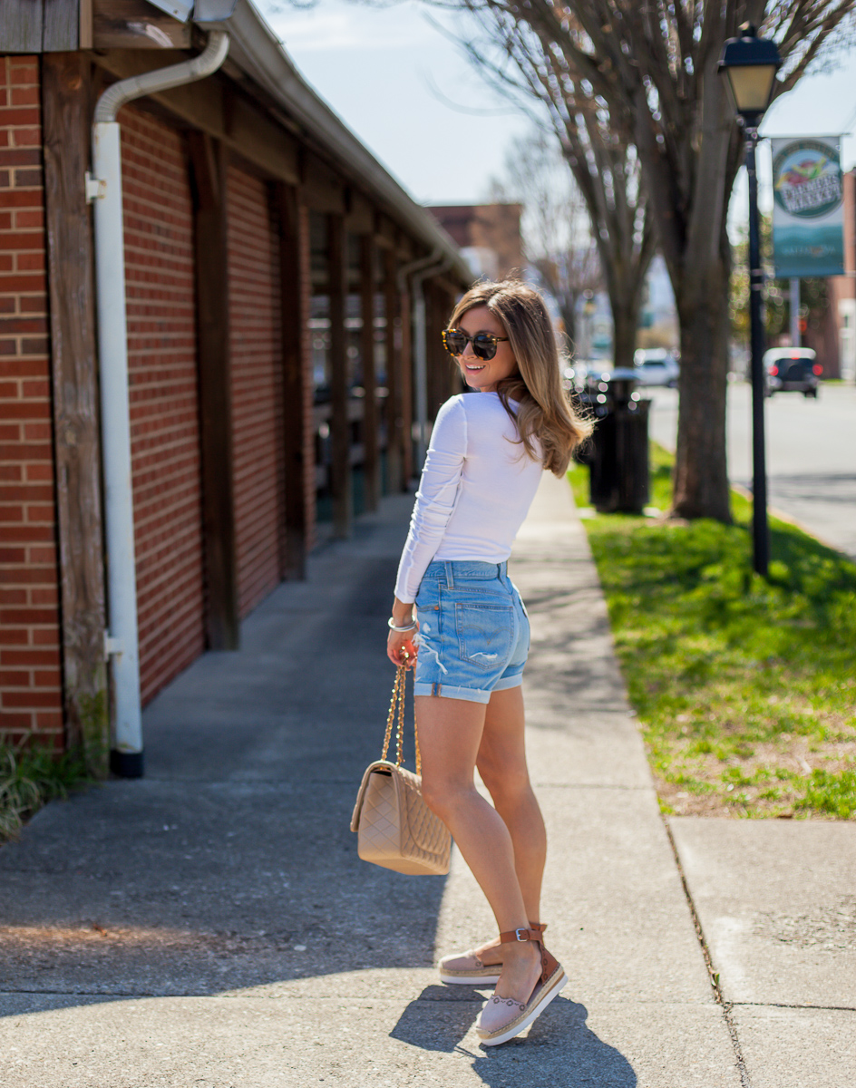 nordstrom levis 501 high waist long denim shorts haze blue