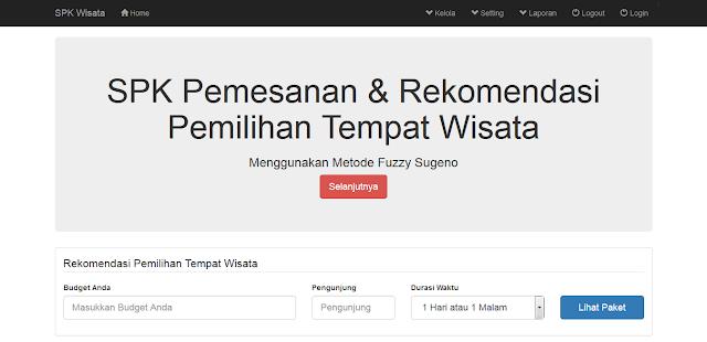 Source Code PHP SPK Pemilihan Rekomendasi Wisata Fuzzy Sugeno Method