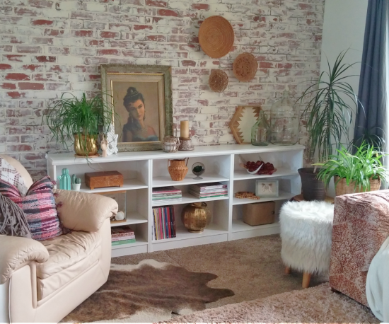 Create stylish built-ins from simple inexpensive bookcases