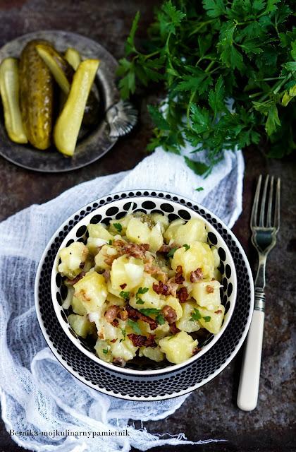 salatka, ziemniaki, szwabska, boczek, obiad, bernika, kulinarny pamietnik
