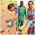 See the Vice President's wife, Dolapo Osinbajo pictured harvesting yam in her backyard garden ...photo