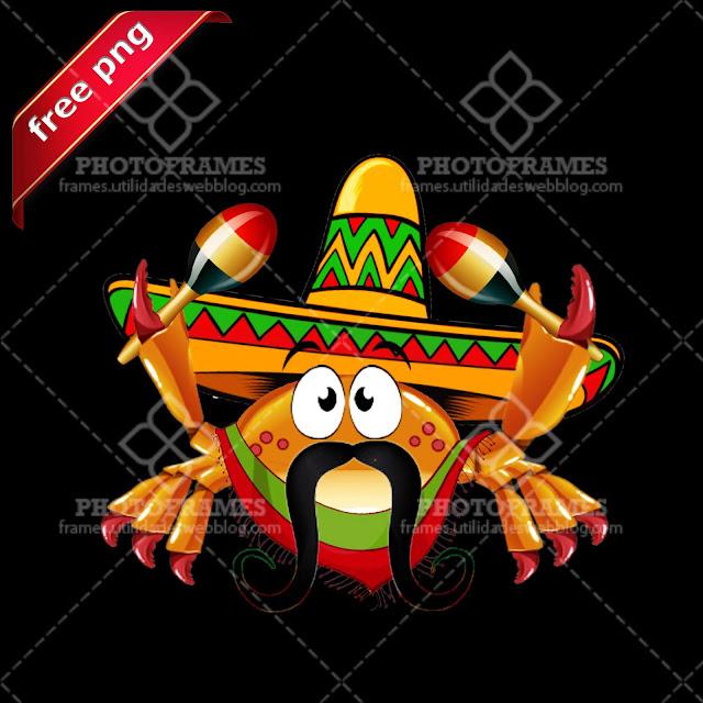 Cangrejo mariachi mexicano tocando maracas png con fondo transparente
