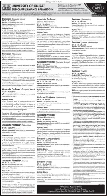 University of Gujrat UOG Sub Campus Mandi Bahauddin Jobs 2021