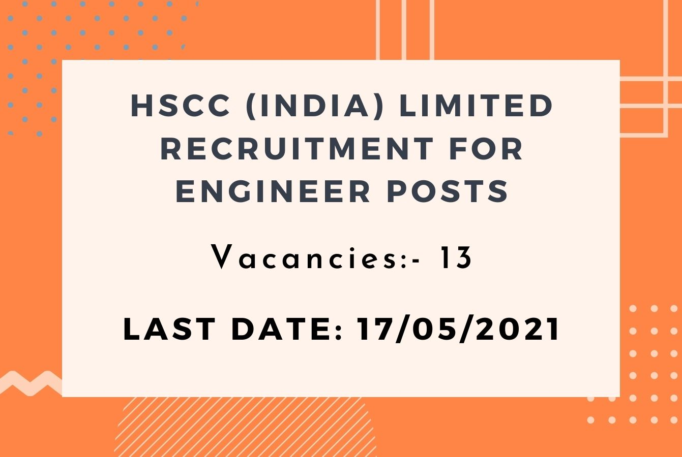 HSCC (India) Limited Recruitment for Engineer posts