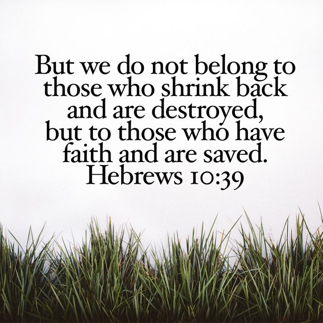 We are not of those who shrink back and are destroyed, but of those who believe and are saved.