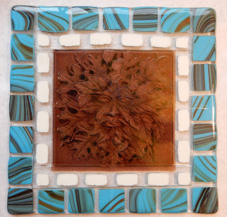 Green Man, Fused Glass Mosaic