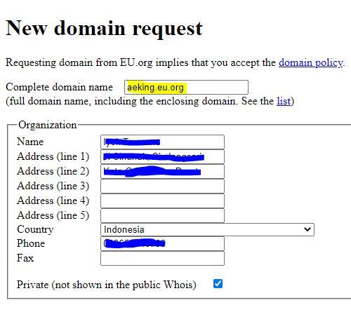 Cara Daftar Domain Eu.org Gratis Selamanya