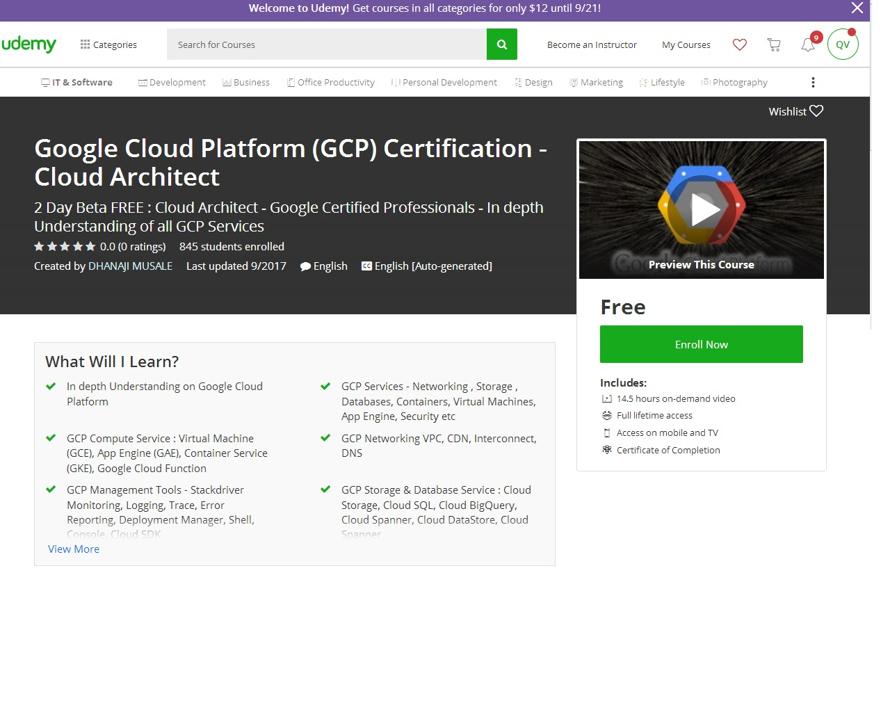 Google Cloud Platform Gcp Certification Cloud Architect Udemy