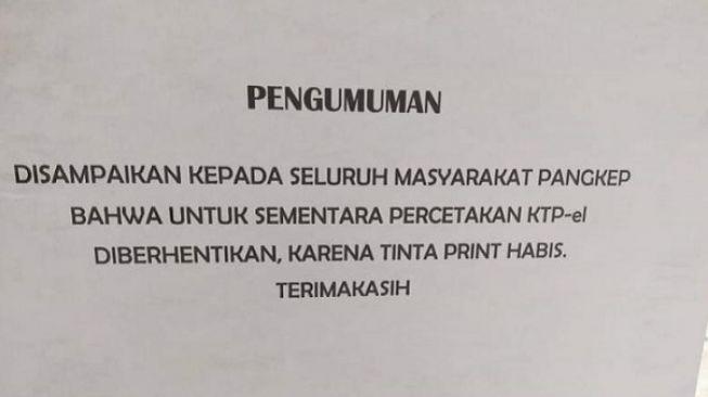 """Warga Kabupaten Pangkep Tidak Bisa Cetak KTP, Tinta Printer Disdukcapil """"Habis"""""""