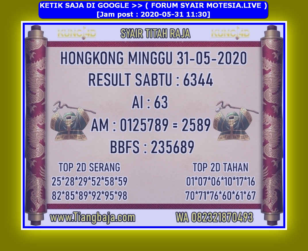 Kode syair Hongkong Minggu 31 Mei 2020 256