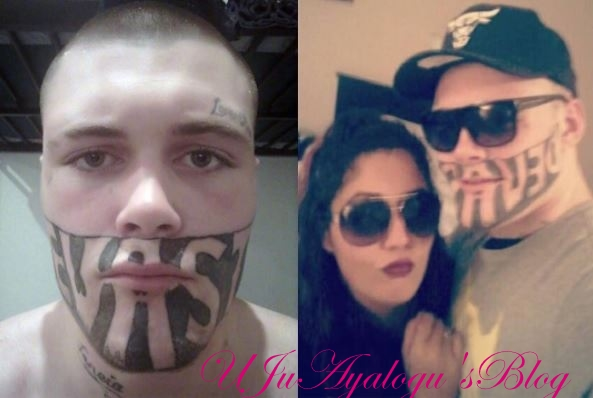 Teenage father with mouth tattoo cries out over his inability to find a job