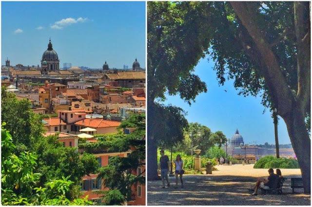 Vistas de los tejados de Roma desde el Pincio – El Pincio y el parque Villa Borghese en Roma