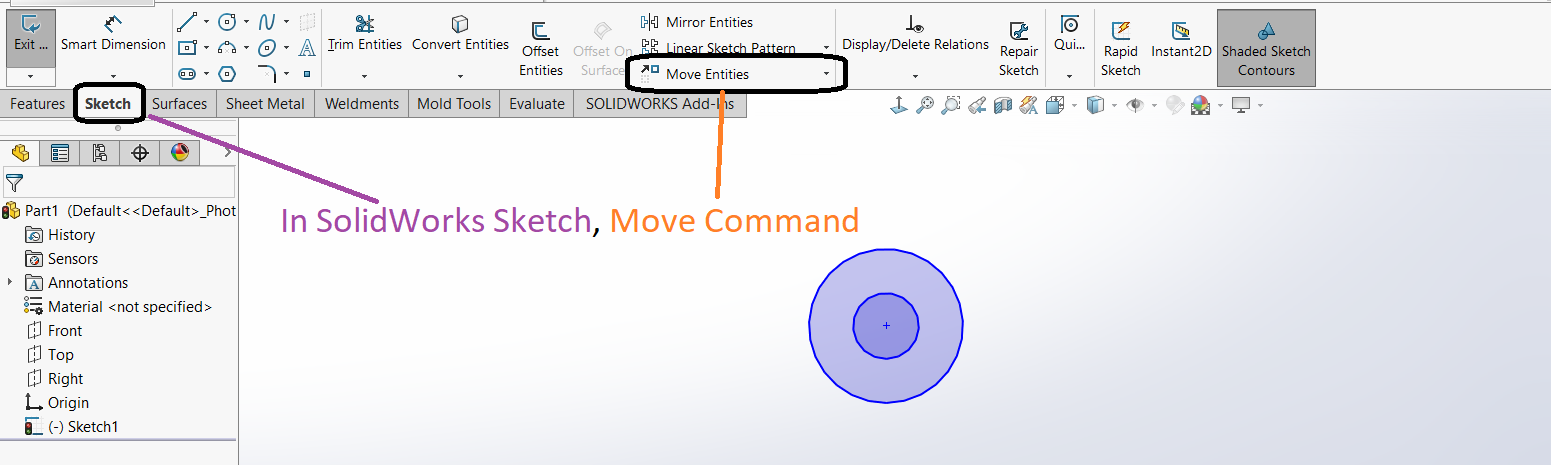 Design Tech Academy: SolidWorks Sketching:- Move Entities in