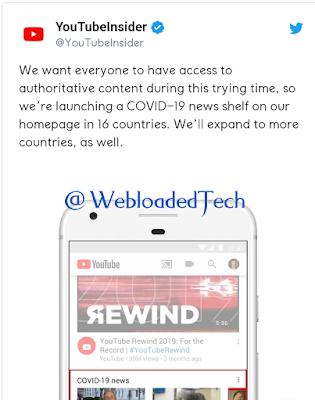 YouTube to Promote 'Authoritative Content' Coronavirus Content on Homepage