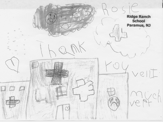 A child's drawing of a hospital building