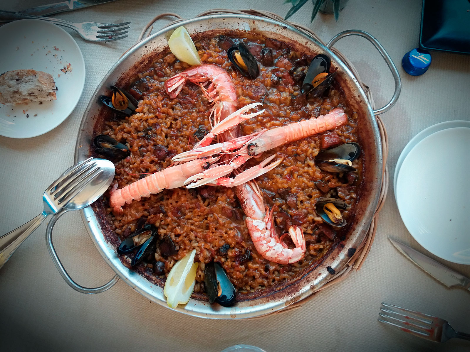 Seafood Paella or Paella Marinera at Celler Sant Antoni in Blanes, Costa Brava, Catalonia, Spain