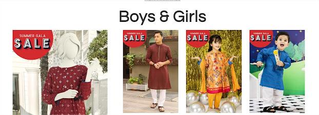 j. Junaid jamshed gala summer sale on boys & girls