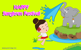 Happy Sankran festival wishes Elephant water sprinkling on girl