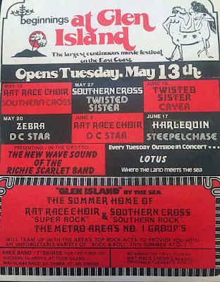 Glen Island rock club band line up 1980