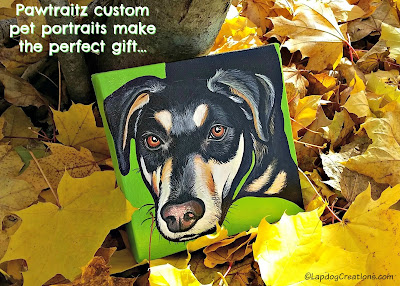 custom pet portrait in fall leaves