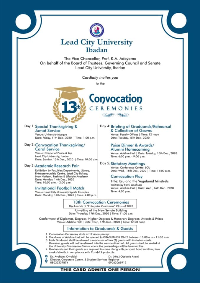 Lead City University 13th Convocation Ceremony Events