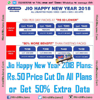 Tags- Jio Happy New Year Plans 2018 Revised, Jio Happy New Year 2018 New Plans, Jio 1 GB Per Day Plans, Jio 1.5 GB Per Day Plans, Jio Offer, Jio New Year 2018 Plans, Reliance Jio New Plans Validity Increased & Price Reduced, Jio Happy New Year Plan Offer,
