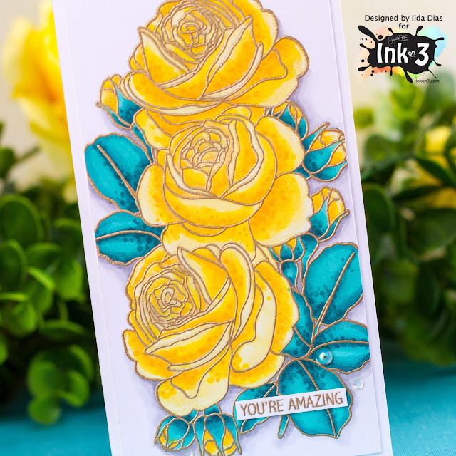 Triple Rose, Mini Slimline, Friendship Card,Ink On 3,Card Making, Stamping, Die Cutting, handmade card, ilovedoingallthingscrafty, Stamps, how to,