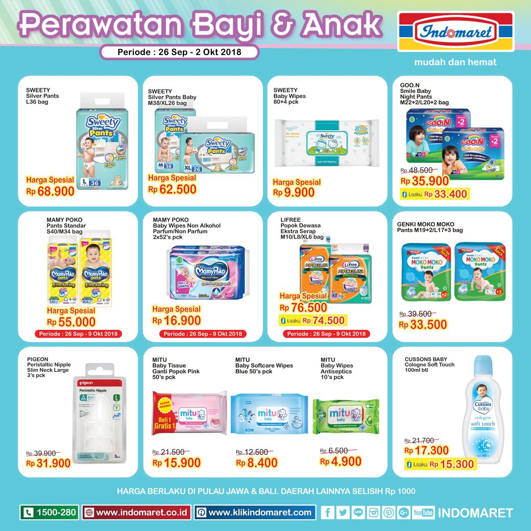 Indomaret - Promo Katalog Perawatan Bayi & Anak Periode 26 - 02 Okt 2018