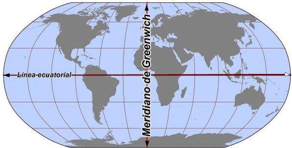 Globo terraqueo con meridiano de greenwich y ecuador