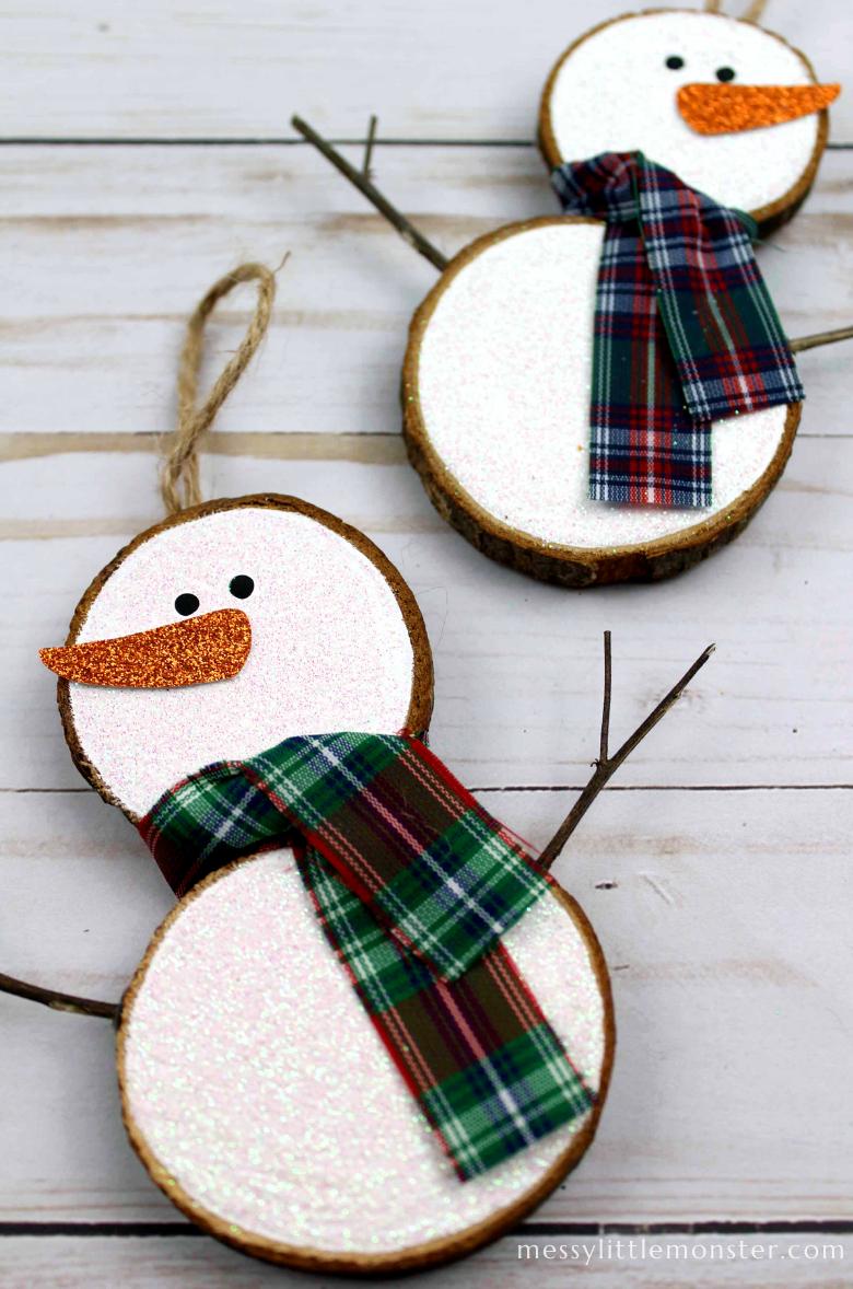 snowman wood slice ornaments