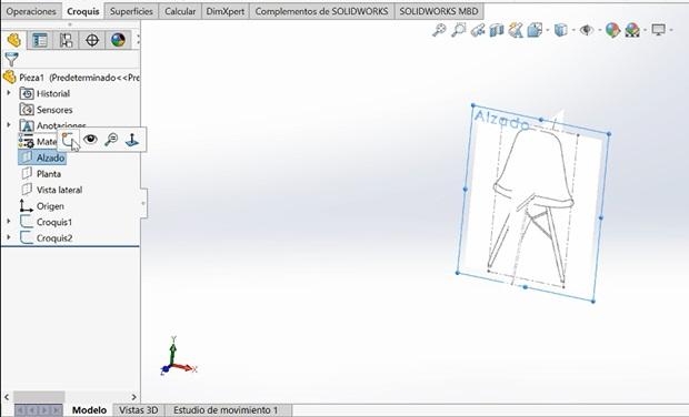 insertar imagen de croquis  silla eames en Solidworks alzado y perfil