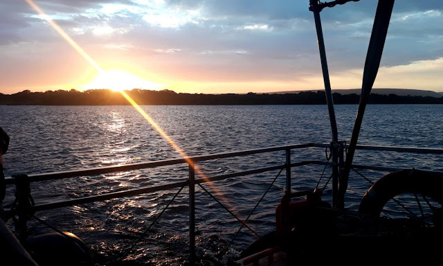 Sunset on eco-boat cruise at the De Hoop Nature Reserve