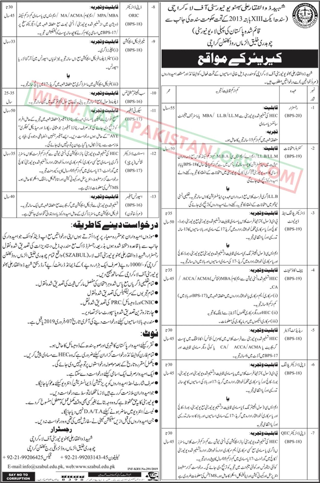 Shaheed Zulfiqar Ali Bhutto University Of Law Jobs 2019, University of Law Karachi Jobs