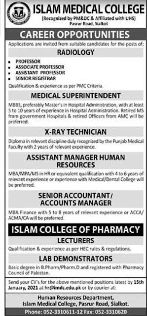 islam-medical-college-imc-sialkot-jobs-2021-advertisement