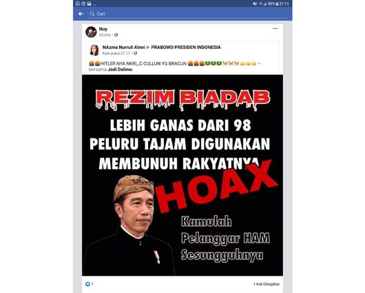 Hoax yang ikut disebar Hardianor Foto: (dok Humas Polda Kalteng)