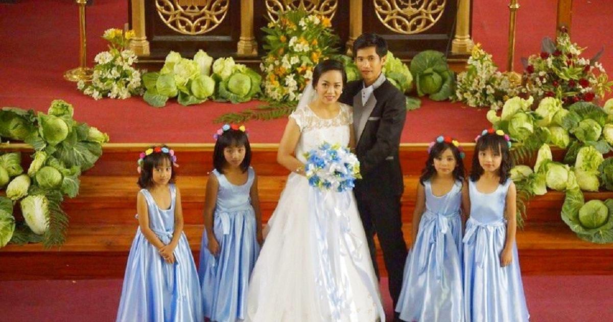Benguet couple praised for using vegetables as unique wedding decor