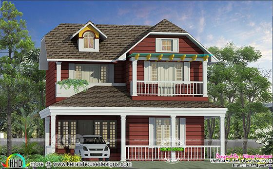 English model home design in Kerala 1817 sq-ft