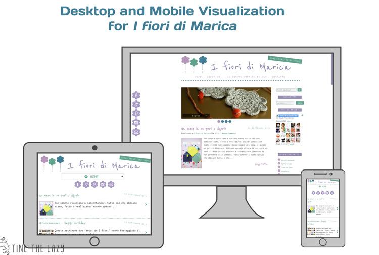 Blog Design per 'I fiori di Marica' - visualizzazione mobile e desktop