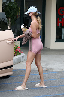 hailey bieber in a bra top and shorts west hollywood 10 21 2020 11