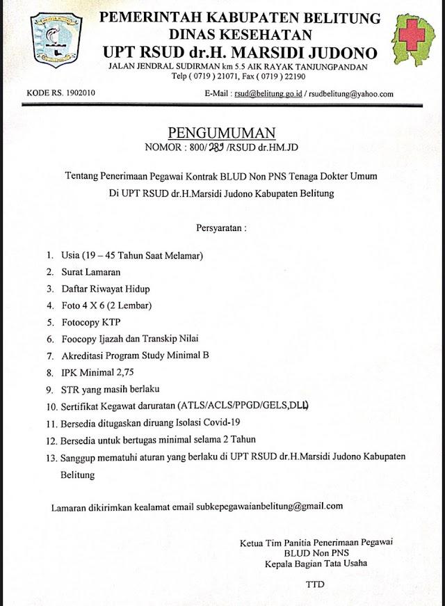 Loker Dokter RSUD dr. H. Marsidi Judono Kabupaten Belitung