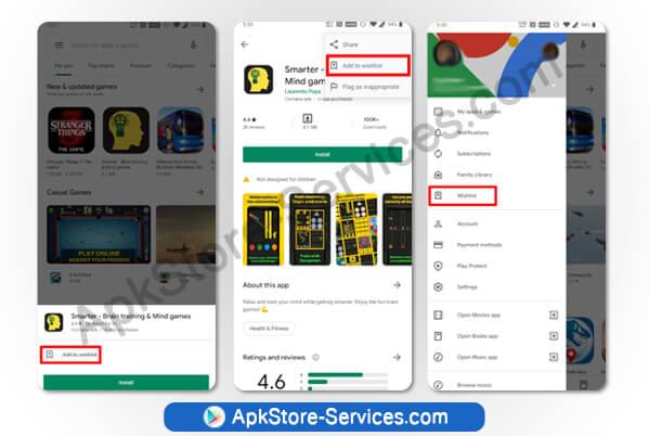 إضافة تطبيقات إلى قائمة الأمنيات على متجر بلاي Google Play