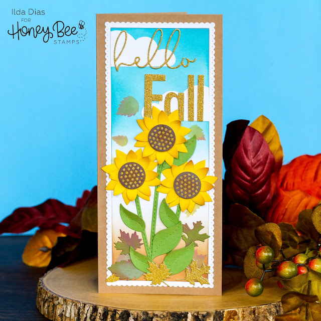 Hello, Fall, Sunflower, Slimline, Scene Honey Bee Stamps, Ink Blending, distress oxide inks, Card Making, Die Cutting, handmade card, ilovedoingallthingscrafty, Stamps, how to,