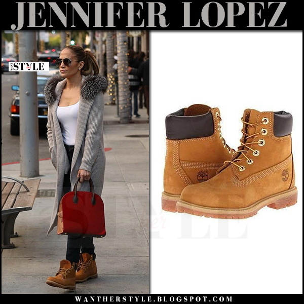 Jennifer Lopez in grey fur hood cardigan and camel suede ankle boots timberland what she wore