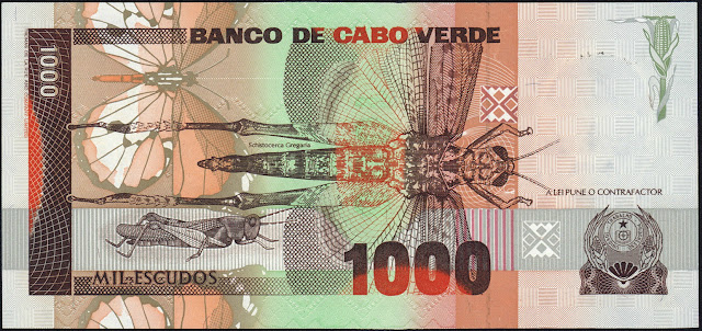 Cape Verde 1000 Escudos banknote 1989 Grasshoppers and Locusts