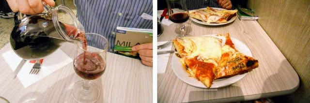 2 Days in Milan - pizza and red wine