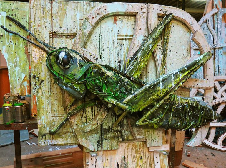 Street Artist Transforms Ordinary Junk Into Animals To Remind About Pollution - Green Grasshopper