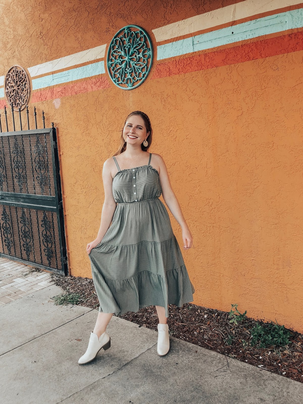 Women's Sleeveless Square Neck Button Front Tiered Midi Dress - Universal Thread™ Green | Affordable by Amanda Instagram Outfit Recap